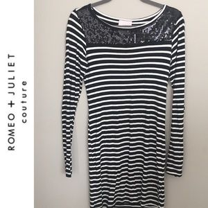 Romeo & Juliet Couture sequin striped long sleeve